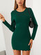 Solid Color O-neck Long Sleeve Mini Casual Dress For Women - Green