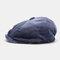 Men Corduroy Fashion Solid Casual Literature Painter Trend Beret Hat Octagonal Hat - Navy