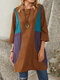 Contrast Patch Color Corduroy Pockets Long Sleeve Vintage Dress - Coffee