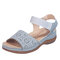 Women Hollow Out Elastic Band Opened Toe Slide Sandals - Gray