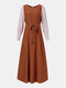 Women Ethnic Contrast Color Patchwork Knotted Casual Dress - Orange