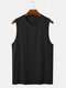 Mens Cotton Breathable Solid Color Round Neck Casual Tank Top - Black