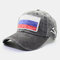 Men & Women Embroidered Russian Flag Washed Cotton Baseball Cap - Black