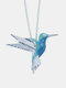 Alloy Fashion Blue Hummingbird Bird Pendant Clavicle Chain Necklace - Silver