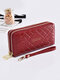 Women PU Leather Rose Floral Money Clips 6.5 Inch Phone Bag Wallet Purse - Wine Red