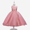 Girl's Floral Embroidered Gauze Princess Casual Dress for 6-13Y - Pink