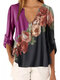 Flowers Print Patchwork V-neck Plus Size T-shirt - Rose