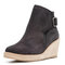 Women Solid Buckle Strap Wedges Ankle Boots - Black