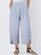 Striped Casual Elastic Waist Split Hem Plus Size Pants - Blue