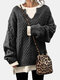 Solid Color Striped Long Sleeves Knitted Casual Sweater for Women - Black