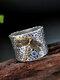 Vintage 925 Thai Silver Ring Dragonfly Inlaid Diamond Women Ring - Silver
