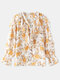 Floral Print Chiffon V-neck Ruffle Long Sleeve Casual Blouse For Women - Yellow
