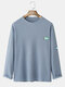 Mens Waffle Solid Tag Crew Neck Cotton Long Sleeve T-Shirts - Blue