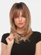 24 Inch Brown Gradient Layered Long Straight Hair Breathable Prom Full Head Cover Wig - 24 Inch