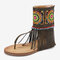 Embroidery Clip Toe Back Zipper Mid Claf Flat Sandals For Women - Army Green