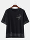 Mens Birds Printed Chinese Style Chest Pocket  Loose Short Sleeve T-Shirts - Black