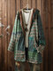 Vintage Print Fleece Hooded Plus Size Coat with Pockets - Green