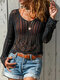 V-neck Hollowed Long Sleeve See-through Top Knit Sweater - Black