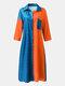Contrast Color Lapel Long Sleeve Button Pocket Loose Shirt Dress - Orange