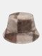 Women & Men Rabbit Fur Plaid Pattern Plus Thicken Warm Windproof Soft All-match Travel Bucket Hat - Brown