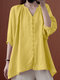 Solid Button V-neck 3/4 Sleeve Loose Women Blouse - Yellow
