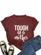 Mother' Day Letters Print O-neck Short Sleeve T-Shirt For Women - Wine Red