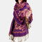 Women Ethnic Style Keep Warm Plus Thick Long Scarf Shawl With Tassel - Purple