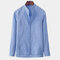 Mens Loose Fit Long Sleeve Stand Collar Solid Color Brief Fashion Casual Shirt