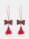 Christmas Red Flower Women Earrings Hollow Butterfly Tassel Pendant Earrings Jewelry Gift - #02