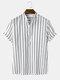 Mens listrada manga curta meio botão algodão casual Henley Camisa - Branco