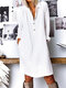 Cotton Solid Color Button V-neck Plus Size Casual Dress - Off White