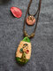 Vintage Ethnic Buttons Tassels Decorated Drop-shape Wood Alloy Wax Rope Hemp Rope Double-layer Necklace - Green