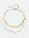Brief Broguo Cross Chain Pearl beaded Iron Double-layer Necklace - Gold