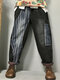 Striped Print Patchwork Elastic Waist Denim Pants With Pockets For Women - As Picture