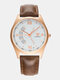 Vintage Men Watch Ultra Thin Leather Band Waterproof Quartz Watch - White Dial Brown Band