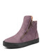 Women Solid Color Suede Side Zipper Casual Warm Snow Ankle Boots - Purple
