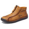 Men Microfiber Leather Hand Stitching Soft Front Zipper  Ankle Boots - Yellow