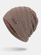 メンズウールPlus厚手の冬は暖かく防風ニット帽を保つ - カーキ