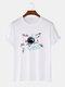 Mens Astronaut Formula Print 100% Cotton Preppy Short Sleeve T-Shirts - White