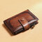 Men Genuine Leather RFID Anti-theft SIM Card Slot Multi-card Slots Foldable Card Holder Wallet - Brown
