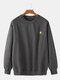Mens Cotton Flocking Sun Embroidery Loose Fit Crew Neck Sweatshirts - Grey