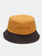 Unisex Cotton Patchwork Color-block Letter Embroidery Fashion Sunshade Bucket Hat - #06