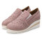 Women Casual Pointed Toe Hollow Slip On Wedges Shoes - Pink