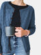 Solid Color Hollow Out Long Sleeve O-neck Button Cardigan - Blue