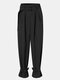 Solid Color Pleated High Waist Pocket Knotted Casual Pants With Belt - Black