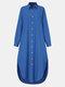 Frauen einfarbig Taschenknopf Revers Langarm Casual Bluse - Blau