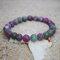 Bohemian Multicolor Crystal Beaded Bracelets Amethyst Elastic Rope Tassel Pendant Women Jewelry - #03