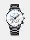 Business Men Watch Steel Band Waterproof Calendar Quartz Watch - White Dial Black Band