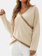 Striped Print Crossed-design V-neck Long Sleeve Casual Sweater - Beige