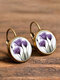 Vintage Flower Pattern Women Earrings Glass Printed Pendant Earrings Ear Hooks - #13